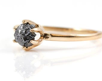14K Rose Gold Solitaire Ring with Raw Rough Diamond - Black Rough Uncut Diamond - Classic Engagement Ring - Promise Ring - April Birthstone