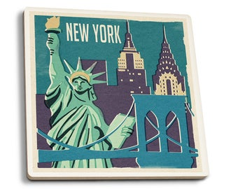 NY - Woodblock - LP Artwork (Set of 4 Ceramic Coasters)