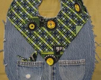 Boys Cute John Deere Farmer Western Recycled Denim Cowboy Baby Bib