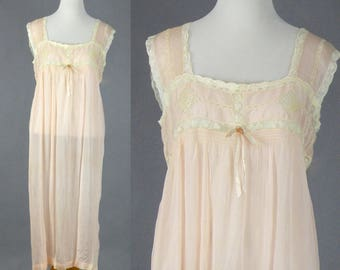 1920's Silk Lace Nightgown, Vintage 20s Lingerie, Pale Pink Silk Nightgown with Filet Lace, Plus Size Nightgown