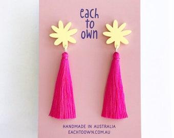 Flora Tassel Drop - Lemon Pastel and Hot Pink Tassel - Laser Cut Acrylic Flower Drop Earrings - Each To Own Original