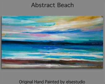 """Original Abstract Painting Wall Art Oil Painting 48""""x24"""" Canvas  Original Modern Home Deco, Wall Hanging, Surreal Seascape"""