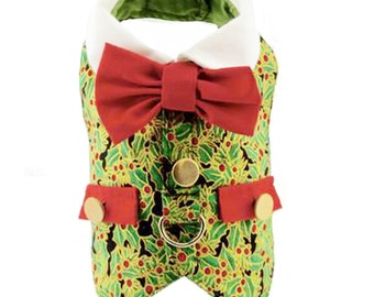 Green Holly Christmas Holiday Dog Harness Vest
