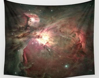 Orion Nebula, Wall Art Tapestry, Space, Office, Stars, Planets, Colorful, Black, Noir Wall Art, Nature, Dorm, Teal, Abstract Home Interior