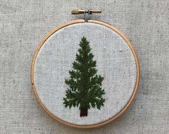 christmas tree pine tree wall decor hand embroidery