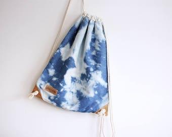 Reverse Shibori Drawstring Backpack - Rucksack - vegan bag - travel backpack - denim backpack - denim bag - beach bag - shibori bag