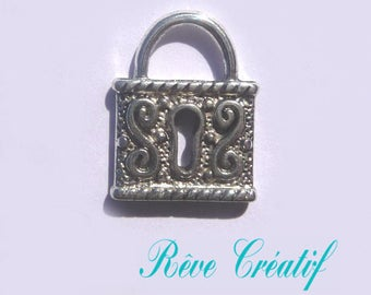 Pendants lock, silver lock, lock, silver, length 19.5 mm, width 16 mm, thickness 3 mm, hole 5 mm, 4pcs