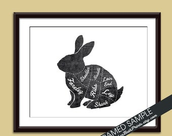 RABBIT (Butcher Diagram Series) - Art Print (Featured in Vintage Chalkboard and White) Customizable Kitchen Prints