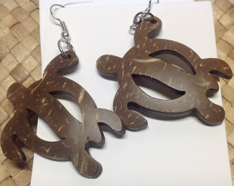 "Medium Carved Coconut Shell Earring.. 2"" Long Turtle Earring"