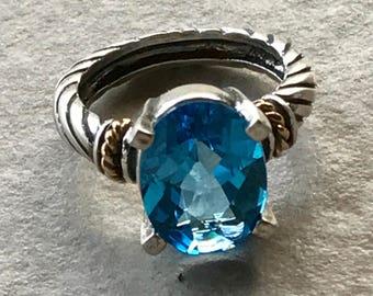 Swiss Blue Topaz Ring, Cocktail Ring, Big Stone Ring, Sterling Silver Gemstone Ring, Blue Stone Ring, Blue Topaz Ring, Topaz Jewelry