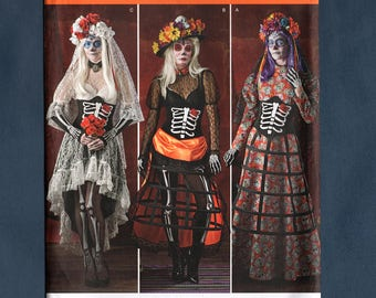 Simplicity 1033 Misses' Costume Sewing Pattern, Corset, Blouse, Skirts, Veil Cosplay Day of Dead Cosplay, Sizes 14-16-18-20-22, Uncut