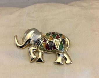 Elephant Brooch ~ Elephant Pin ~ Enamel ~ Goldtone ~ Stained Glass Inspired ~ Vintage