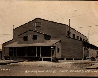 Recreation Building Camp + Phillips, Kansas + Vintage Postcard