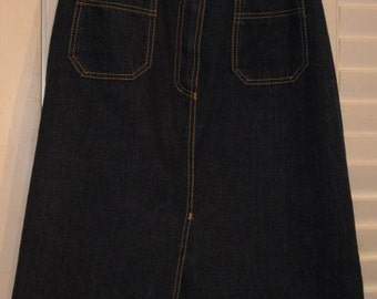 Sasson Denim Skirt Vintage 1980s Dark Blue Denim