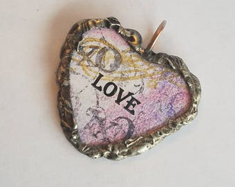Valentine's day gift / Heart charm / Soldered Glass Charm / XO charm / Silver Gilding / Pink Purple Gold