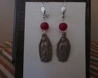 Milagro collection: Our Lady of Guadalupe drop earrings