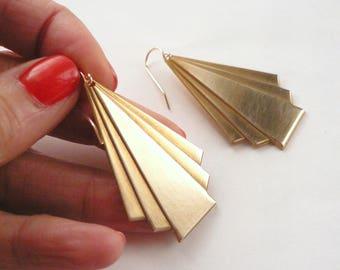 Huge art deco triangle earrings Brass triangle Art Deco dangles Big gold dangles Gold lightweight geometric dangles 14K gold fill ear wires
