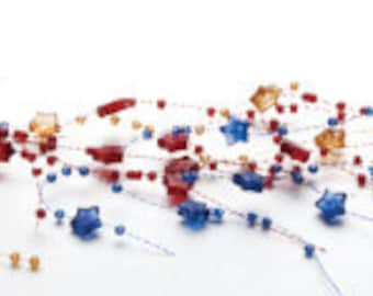Beaded Garland Red - Blue 131