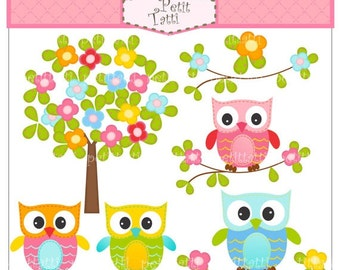 ON SALE Clip Art Owl, flower tree clipart, Digital clipart (small commercial use), Owl and flowers tree, owls clipart