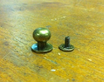 10 Button Studs Large Ant Brass