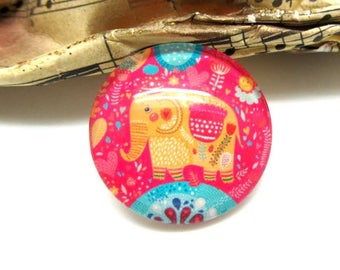 1 cabochon 25 mm glass Elephant pink background - 25 mm
