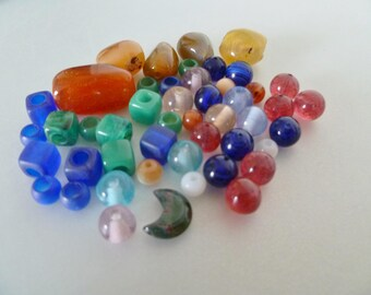 Bundle of vintage glass and stone beads