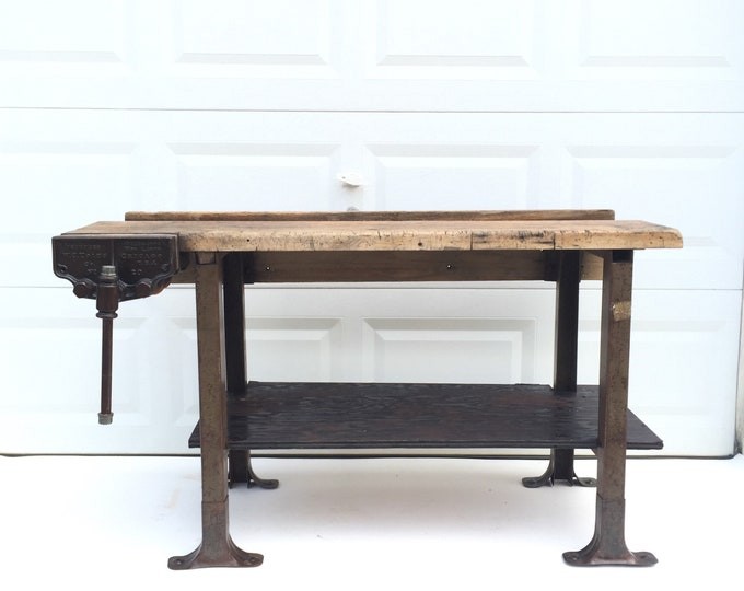 Primitive Industrial Workbench or Console Table