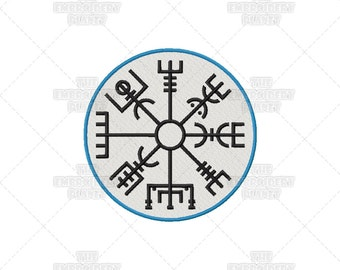 Vegvisir, Dark, Mysterious, Viking Compass, Norse Talisman, Machine Embroidery, norse designs, norse magick, norse symbols, viking symbols