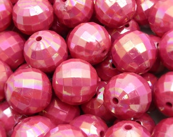 20mm Pearlized Dark Pink Faceted Disco Ball Beads - 10pcs - Candy Color Beads, Chunky Bubblegum Beads, Round Acrylic Beads - BR4-7