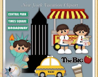 New York Vacation Clipart, Statue of Liberty, Empire State Building, Digital Scrapbook Elements
