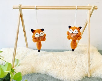 Crochet Fox Rattle, Crochet Fox Rattle, Baby Rattle, Baby Gym Centre Toy, Baby Activity Centre Fox, Crochet Baby Rattle, Baby Teething Toy