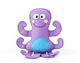Octopus Stuffed Animal Pattern, Octopus Hand Sewing Pattern, Plush Octopus Sewing Pattern, Instant Download PDF, Under the Sea Theme Decor