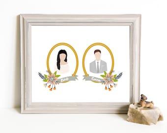 Though Very Humble : Custom Magnolia Floral Cameo Wedding 8x10 Portrait Illustration