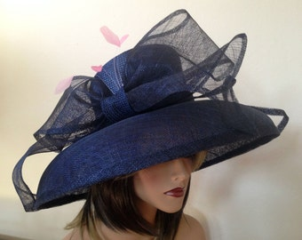 Formal hat, Kentucky Derby hat, Derby hat, Navy blue hat for the races, weddings, church, Royal Ascot