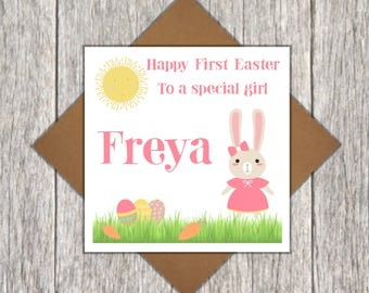 Personalised First Easter Card ~ Bunny Card ~ Cute Children's Easter Card ~ Personalised First Easter Card ~ First Easter Card for Baby