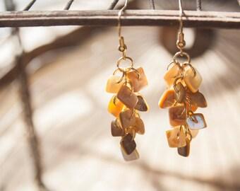 Golden Shell Cluster Earrings