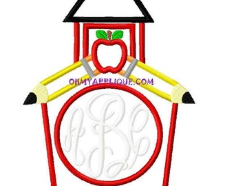Monogram Back to School House Design Embroidery Applique Design Instant Download Digital File for Embroidery Machines