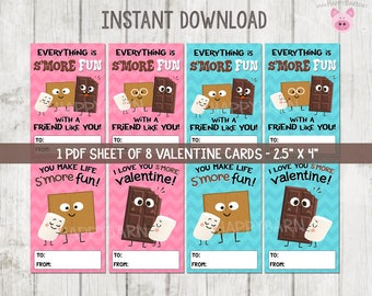 Printable S'mores Valentine's Day Cards, Smores Valentines Cards, Valentines School Cards, S'mores Printable Valentine's Cards, Vday Cards