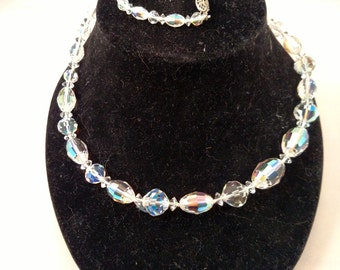 Gorgeous AB Faceted Crystal Beaded Necklace, Fishhook Clasp