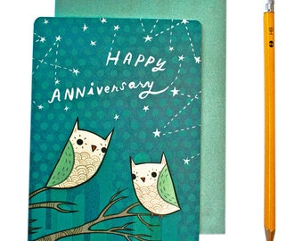 Owl Anniversary Card - Anniversary Card for Him - Happy Anniversary Card - Romantic Anniversary Card Husband Wife Greeting Card girlfriend