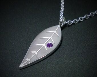 Amethyst Leaf Necklace Pendant in Sterling Silver
