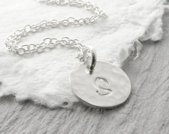 Personalized Necklace Silver Initial Necklace Hammered Silver Necklace Tiny Silver Necklace Mother Necklace Mother's Day Gift Holiday Gift
