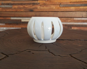 Handmade White Ceramic Votive Candle Holder Luminary
