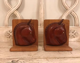 Vintage Horse Bookends - Wood and Leather Book Ends - Equestrian, Western, Farmhouse Decor