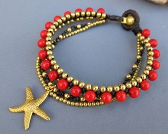 Starfish Charm with Red Coral Woven Bracelet