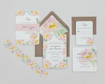 Rustic Boho Blush Floral Wedding Invitations, Rustic Blush and Mint Wedding Invites,Pink Flowers Wedding Invitations,Rustic Spring Wedding
