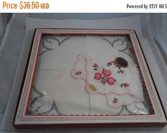 ON SALE New Old Stock Hankies - 1950's 1960's Still In Original Box - 3 Imported Handkerchiefs From Switzerland - Pink Flowers Roses