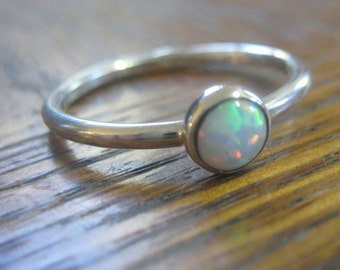 Opal Sterling Stack Ring