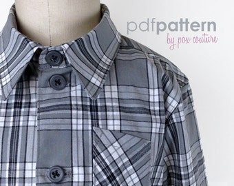 Kids LONG SLEEVE Shirt - PDF Pattern and Instructions 18m-6