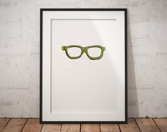 Green Glasses |  Poster  |  Wall Art  |  Printable Digital Download